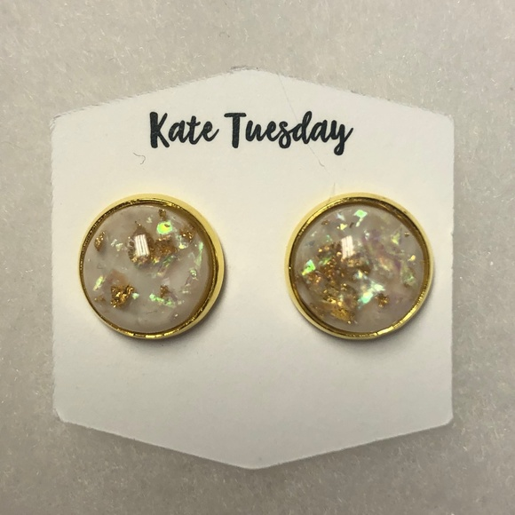 Kate Tuesday Jewelry - Gold Fleck Stud Earrings - Brand New